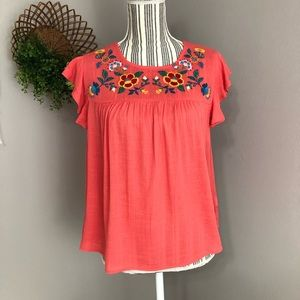 New Lydelle Medium coral blouse embroidered collar